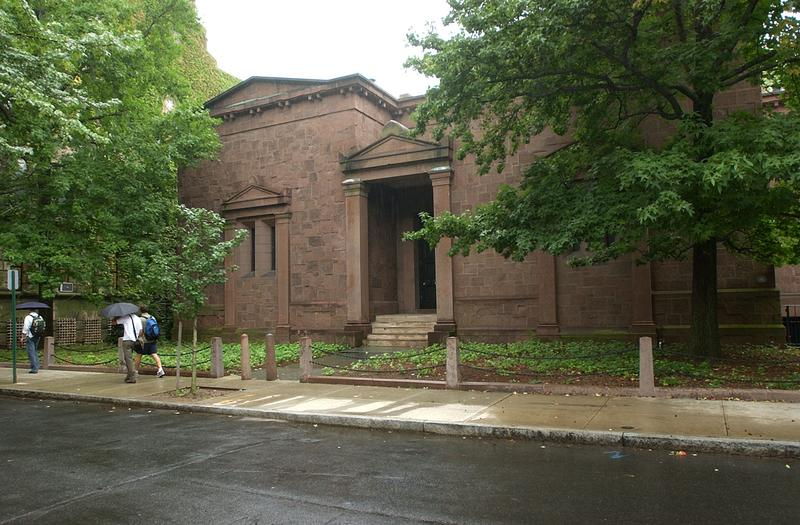 The Tomb, the windowless headquarters of Skull and Bones, on the campus of Yale University.