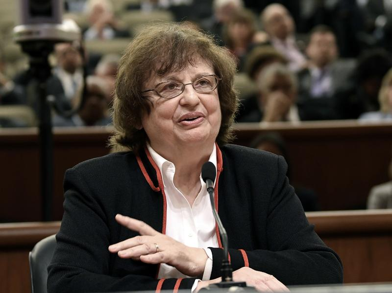 Acting New York State Attorney General Barbara Underwood speaks to legislative leaders interviewing her for the Office of the Attorney General Tuesday in Albany, after former Attorney General Eric Schneiderman resigned amid domestic abuse allegations.