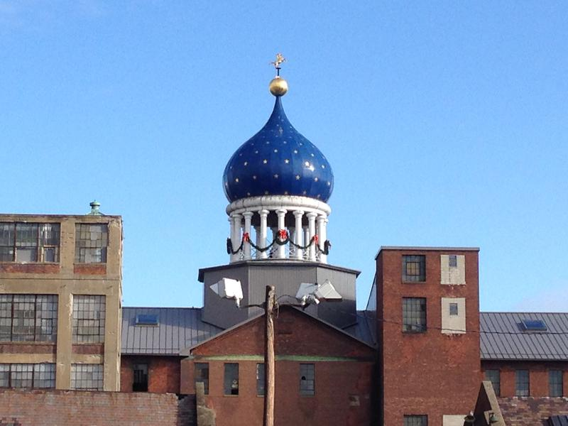 """The iconic blue dome of """"Coltsville"""" in Hartford, Conn."""