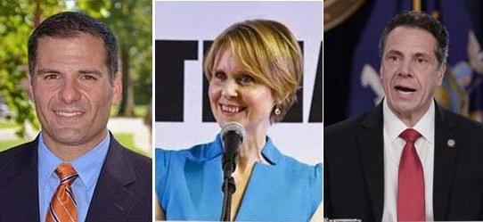 Candidates for New York governor, Marc Molinaro, Cynthia Nixon and the incumbent, Andrew Cuomo.