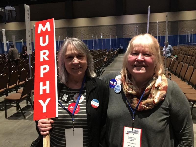Izzy and Lisa, delegates for Senator Chris Murphy, at the Connecticut Convention Center in Hartford Friday evening.