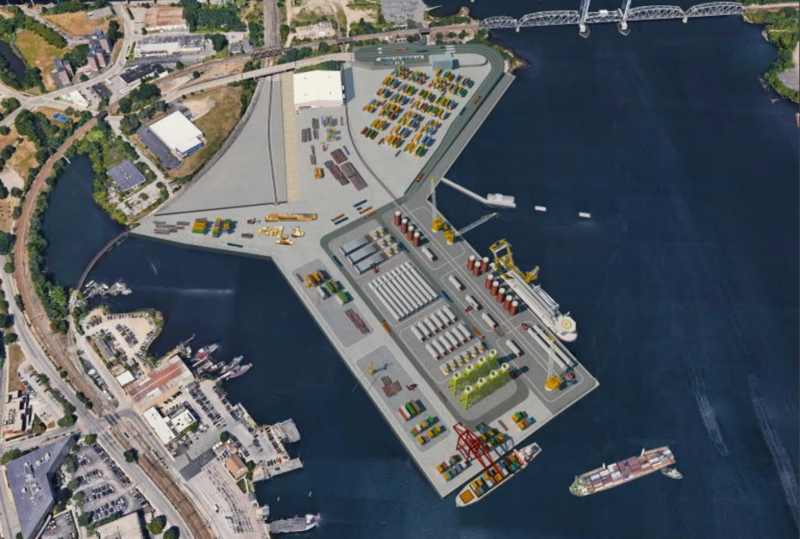 Architectural rendering of the revitalized Connecticut State Pier in New London.