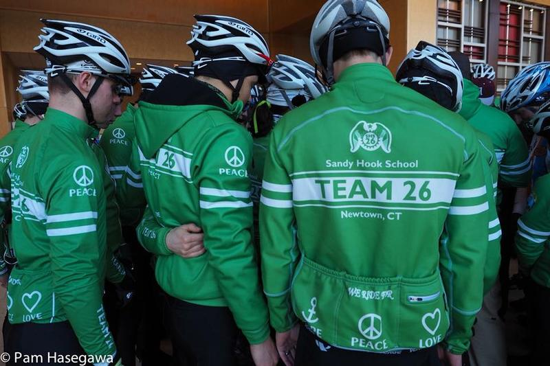 Members of Team 26 gather before a ride from Newtown to Hartford last month.
