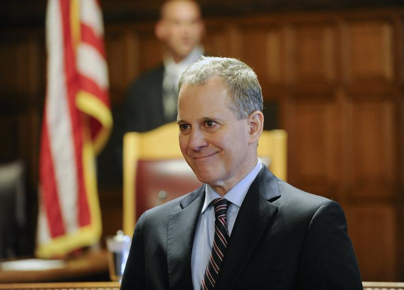 Former New York State Attorney Eric Schneiderman speaks during a Law Day event at the Court of Appeals in Albany in 2015.