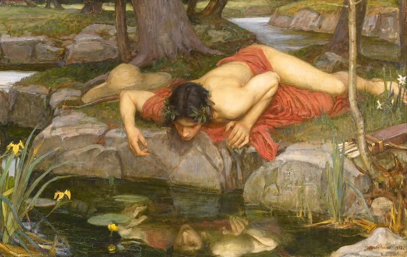Narcissus falling in love with his own reflection.