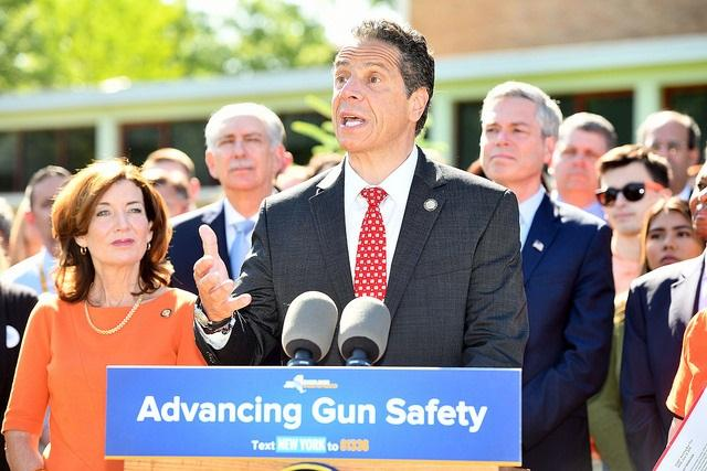 """Governor Cuomo at White Plains High School in Westchester County rallies for passage of a """"red flag"""" law designed to make it easier to keep firearms out of the hands of those feared to be dangerous to themselves or others."""