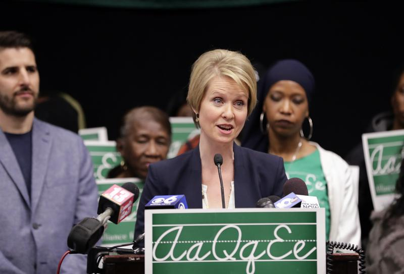 Candidate for New York governor Cynthia Nixon speaks during a news conference in March in Albany, N.Y.