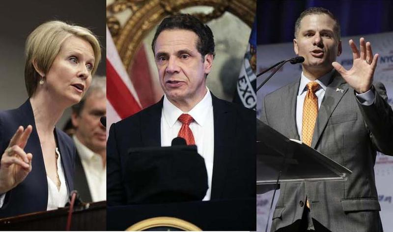 Activist Cynthia Nixon, New York Governor Andrew Cuomo, and Dutchess County Executive Marc Molinaro.