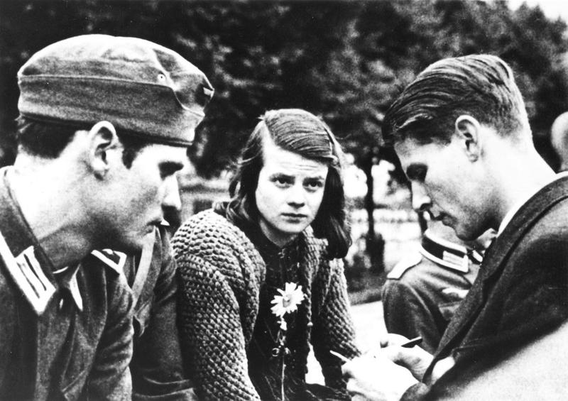 Brother and siser Hans and Sophie Scholl and Christoph Probst, members of the Nazi resistance student organization the White Rose, in 1942.