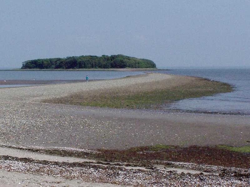 Charles Island at low tide, including the tombolo.