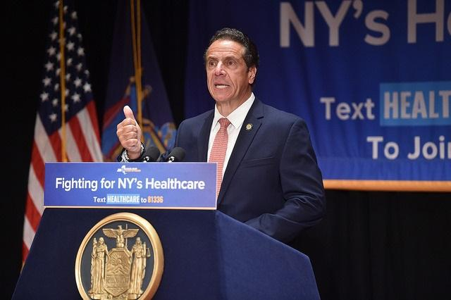 Governor Andrew Cuomo speaks about New York State's healthcare system and how the federal government attempts to limit it, during a presentation at Mt. Sinai Hospital in New York City.