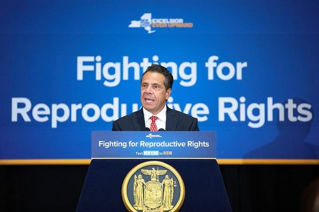 Governor Andrew Cuomo delivers remarks during a reproductive rights rally in Poughkeepsie on Wednesday.