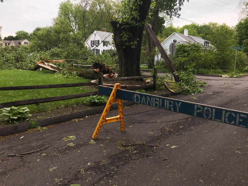 The part of the street where Ridge Road meets Lexington Avenue in Danbury was closed after a telephone pole snapped and took down power lines following severe weather in May.