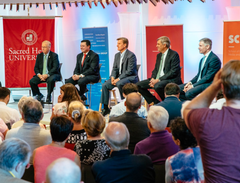 Republican candidates for governor on stage during a debate at Sacred Heart University on Tuesday. From left: Mark Boughton, Tim Herbst, Steve Obsitnik, Bob Stefanowski and David Stemerman.