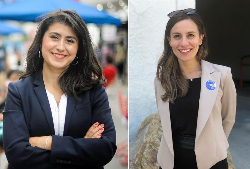 Jessica Ramos, left, and Alessandra Biaggi are both running against incumbent members of the former Senate Independent Democratic Conference, also known as the breakaway Democrats, of the New York Senate.