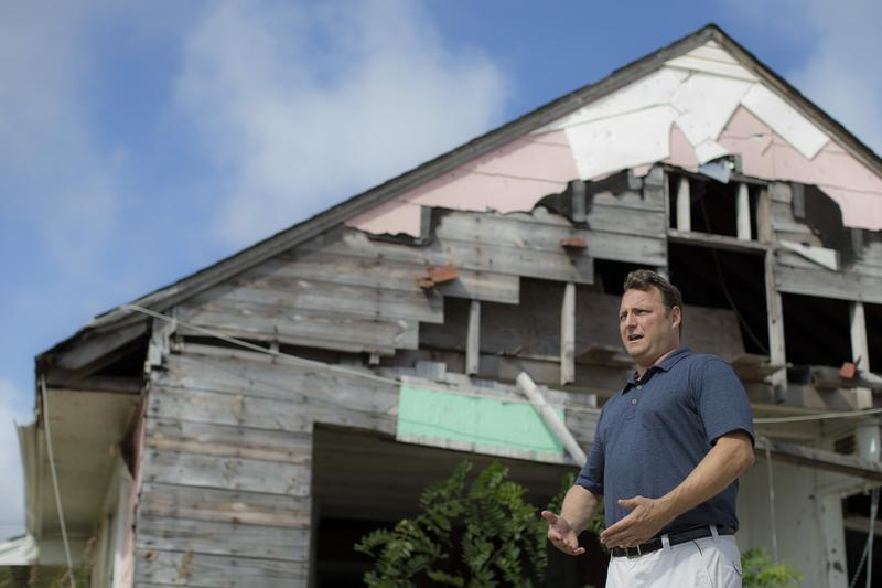 Gary Silberman is interviewed outside his parent's home that was destroyed by Superstorm Sandy in 2014 in Lindenhurst, N.Y.