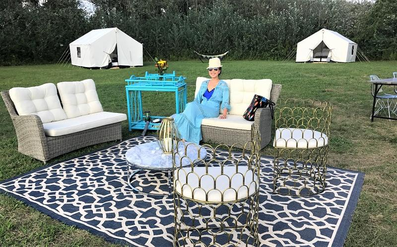 Terra Glamping outdoor lounge at Fort Tilden camp in the Rockaways, N.Y.