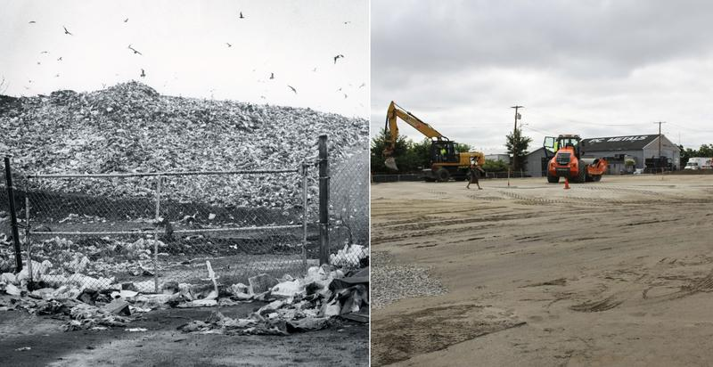 "Bridgeport's ""Mount Trashmore"" as seen in 1982, left, and on Tuesday, after years of clean-up and remediation."