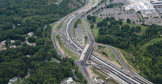Aerial view of the I-84 widening project in Waterbury on Monday.