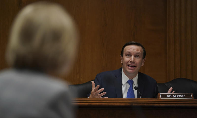 Sen. Chris Murphy, D-Conn., questions Education Secretary Betsy DeVos, left, during a Senate Subcommittee on Labor, Health and Human Services, Education, and Related Agencies Appropriations hearing on Capitol Hill in June.