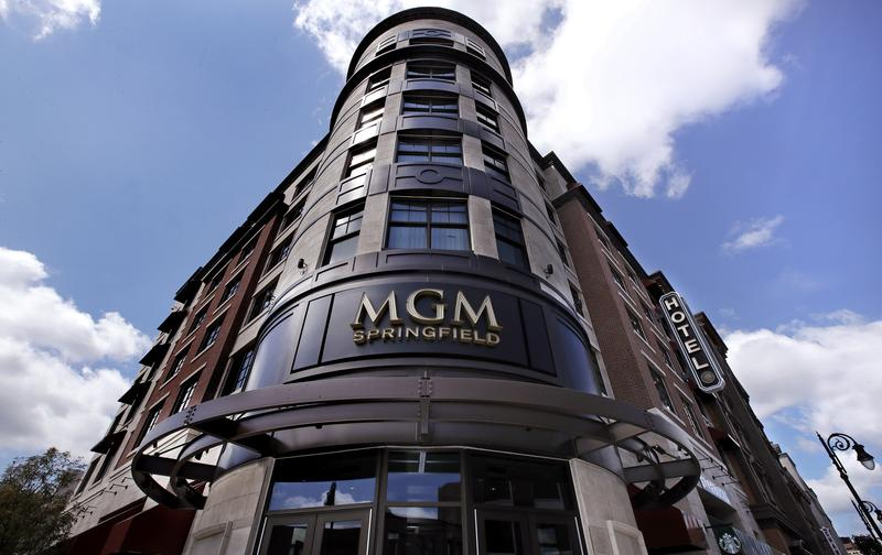 The MGM Springfield casino's front facade on Main Street in Springfield, Mass. The casino is scheduled to open to the public Friday.