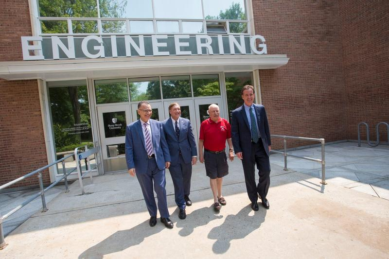 Engineering school Dean Fotis Sotiropoulos, University President Samuel Stanley Jr. and State Sens. Kenneth LaValle and John Flanagan announce Albany's $25 million investment in Stony Brook University's new $100 million engineering facility Thursday.