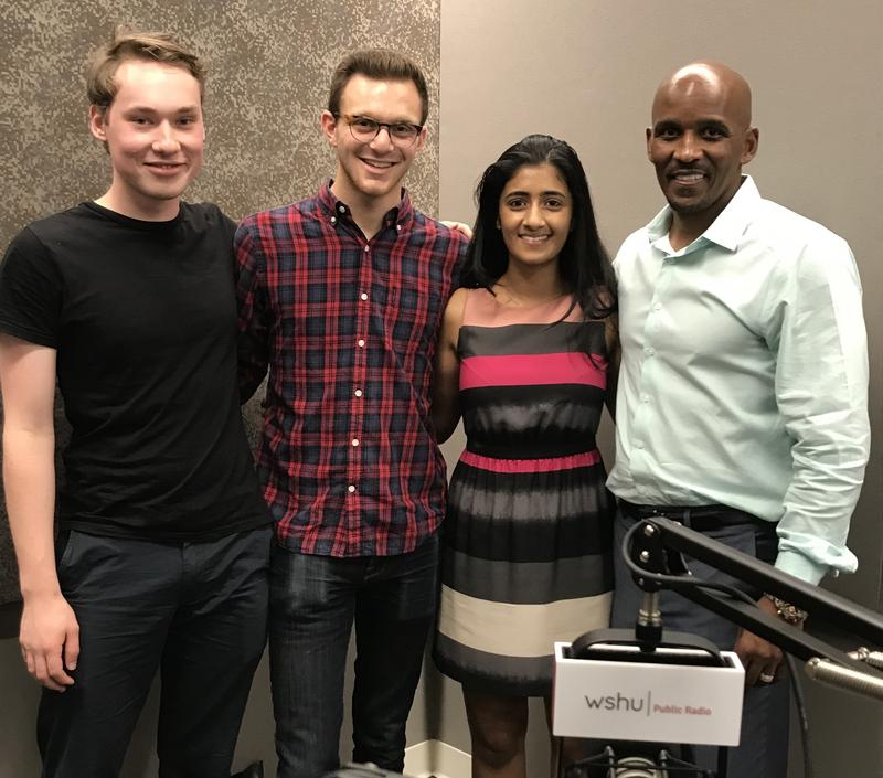 "Yale University students and documentary filmmakers Lukas Cox, Matt Nadel and Keera Annamaneni  with Scott Lewis, a New Haven resident who was wrongfully imprisoned for 19 years and is the subject of the new documentary, ""120 Years."""