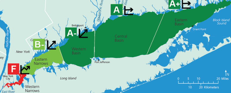 Grades in the 2018 Long Island Sound Report Card range from A+ to F, but the overall message is improvement in Long Island Sound water quality.