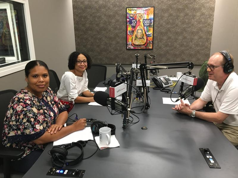 Mendi Blue-Paca, left, and Tricia Hyacinth, center, of Fairfield County's Community Foundation talk to WSHU's Bill Buchner about the Foundation's coalition to stop sexual violence in the area, at the WSHU studios Wednesday.