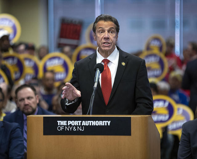 Governor Andrew Cuomo delivers remarks at a Port Authority Board of Commissioners Meeting Thursday.