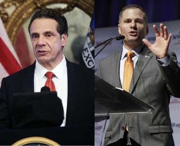New York Gov. Andrew Cuomo, left, and Republican gubernatorial candidate and Dutchess County Executive Marc Molinaro.