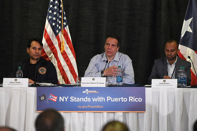 Governor Cuomo speaks at a roundtable discussion on New York's efforts to help Puerto Rico build back better after Hurricane Maria devastated the island.