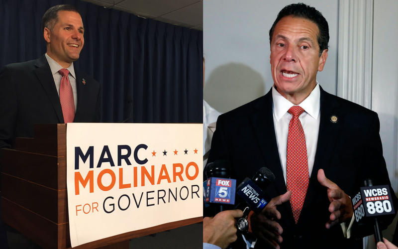 Dutchess County Executive and Republican candidate for governor Marc Molinaro on the campaign trail in Albany. Governor Andrew Cuomo talking to the press on August 14, primary day in New York.