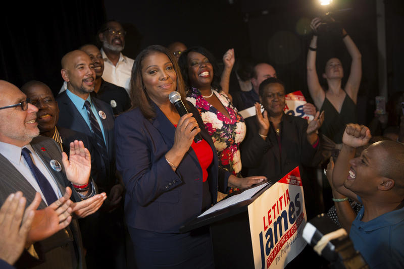 Letitia James delivers a victory speech after winning the primary election for attorney general Thursday in New York. The 59-year-old was an early favorite in the race after getting endorsements from Gov. Cuomo and other top Democrats.