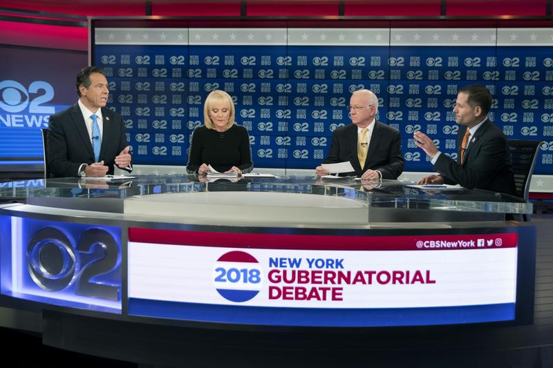 New York Gov. Andrew Cuomo, left, and Republican gubernatorial candidate Marc Molinaro, right, argue during the gubernatorial debate hosted by CBS 2 Chief Political Correspondent Marcia Kramer and WCBS Newsradio 880 Reporter Rich Lamb on Tuesday.