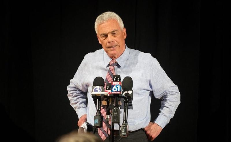 Connecticut gubernatorial candidate Oz Griebel speaking to the media last month.