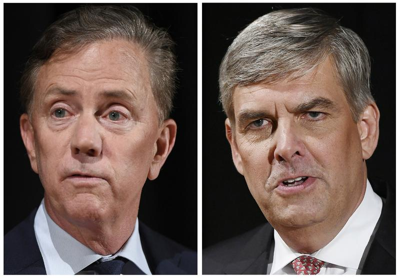 Democrat Ned Lamont, left, has won the governor's race in Connecticut. Republican Bob Stefanowski, right, conceded to Lamont by telephone Wednesday morning.