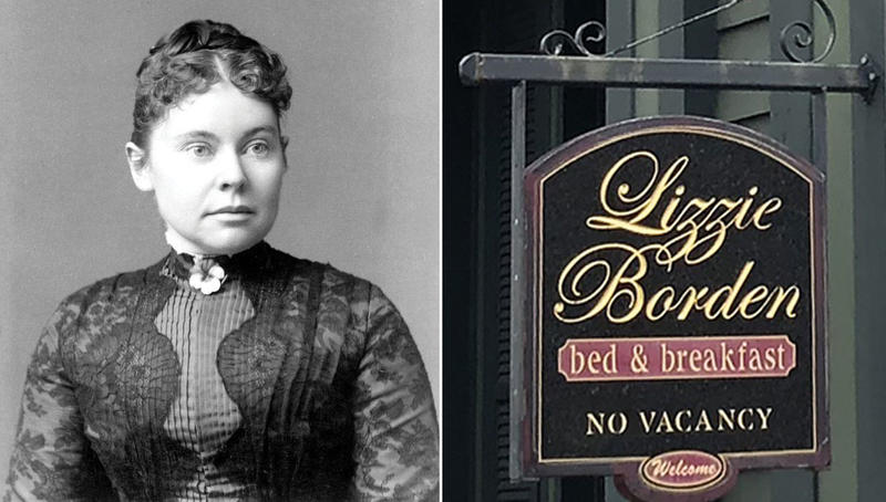Lizzie Borden as pictured in The Guardian, 1890, and the sign hanging outside the Lizzie Borden Bed & Breakfast on 2nd Street in Fall River, Mass., earlier this month.