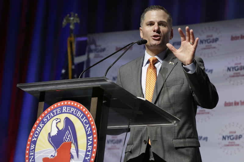 Dutchess County Executive Marc Molinaro delivers his designation acceptance speech as the Republican candidate for governor at the New York state Republican Convention in New York in May.