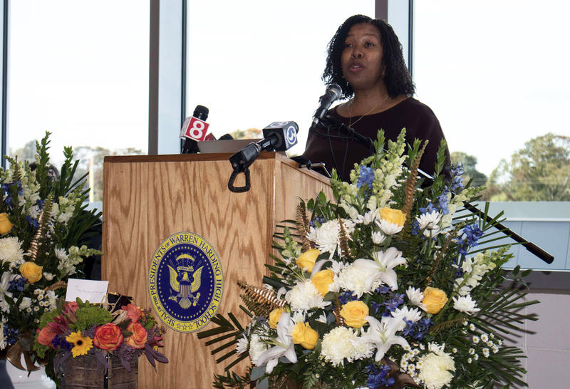 Sheena Graham, music teacher at Warren Harding High School in Bridgeport, speaks to the audience as she is honored as the 2019 Connecticut Teacher of the Year.