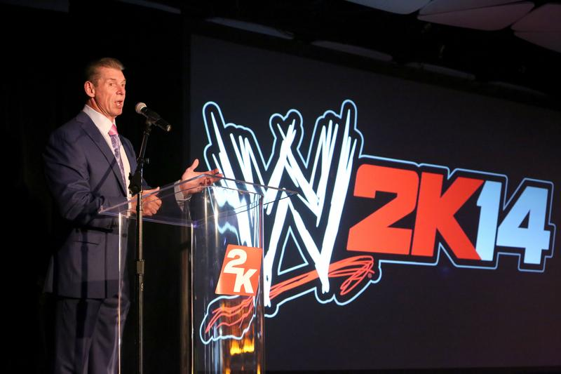 WWE Chairman and CEO Mr. McMahon welcomes guests to the WWE 2K14 press event, in 2013 in Los Angeles.