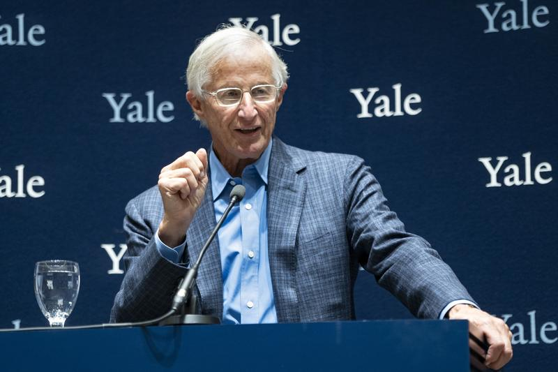 Yale University Professor William Nordhaus, one of the 2018 winners of the Nobel Prize in economics, speaks about the honor Monday, Oct. 8, 2018, in New Haven, Conn. Nordhaus was named for integrating climate change into long term macroeconomic analysis.