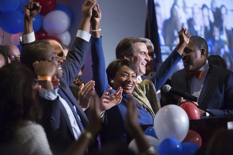 New York State Sen. Andrea Stewart-Cousins celebrates her re-election with other New York State Senate victors during the Nassau County Democratic Committee election night event Wednesday in Garden City.