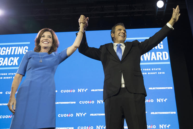 New York Gov. Andrew Cuomo, right, stands with Lieutenant Governor Kathy Hochul during an an election night watch party hosted by the New York State Democratic Committee, Tuesday in New York.
