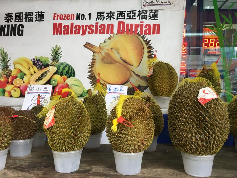A selection of durians available at Durian NYC on Grand Street in Manhattan's Chinatown, as seen in October.