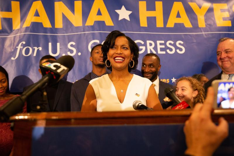 Congresswoman-elect Jahana Hayes addresses her supporters at her campaign headquaters in Waterbury Tuesday night.