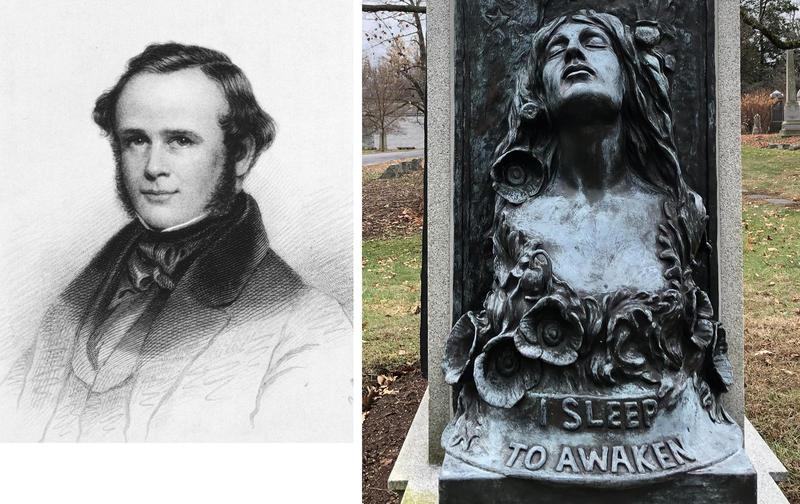 """Horace Wells' portrait in the 1884 history """"The Discovery of Modern Anesthesia,"""" and a view of one side of his grave in Hartford's Cedar Hill Cemetery."""