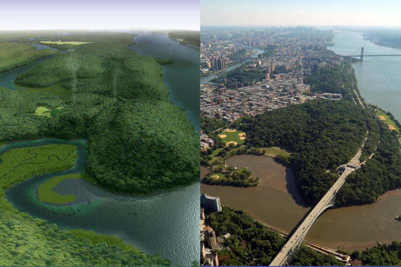 An historical reconstruction of Inwood Hill Park and the Bronx as it is believed to have looked centuries ago, left, and an aerial photo of the area today.