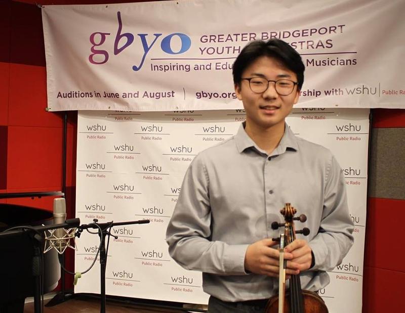Violinist Gerald Kim at the WSHU Broadcast Studio last month.