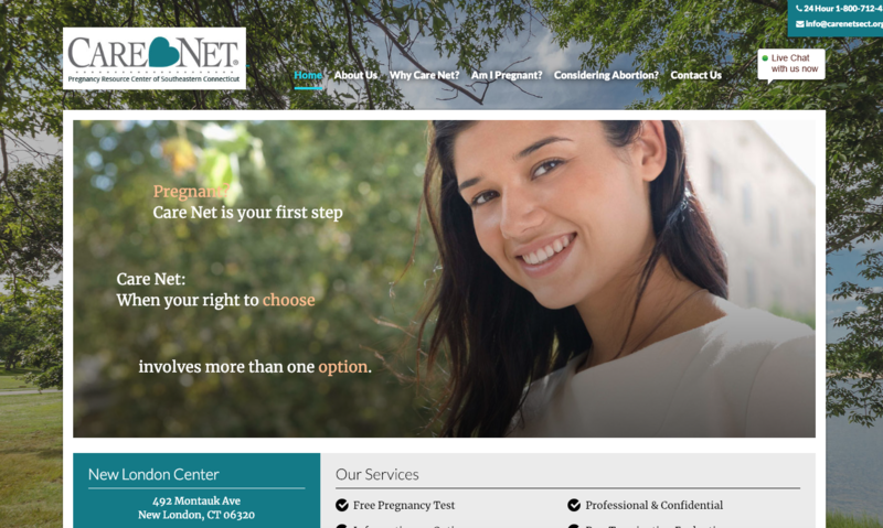 A screenshot of the website of Care Net, the Pregnancy Resource Center of New London.